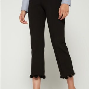 Vilagallo Black Pom-Pom Cropped Pants